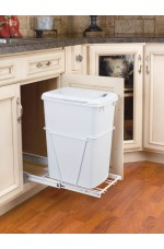 WCS-RV12PB-LE | Single Bottom Mount w/ Lid White Wire Waste Containers (Reduced Depth)