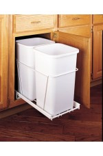 WCD-DTPO-FE | Double Bottom Mount White Wire Waste Containers